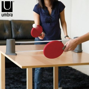 Umbra アンブラ ポンゴ ポータブルピンポンセット 卓球 ピンポン 卓球セット ピンポンセット 卓球台 インテリア雑貨 おしゃれ 北欧 家庭用 ラケットセット ボールセット コンパクト...