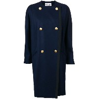 Gianfranco Ferre Vintage double-breasted collarless coat - ブルー