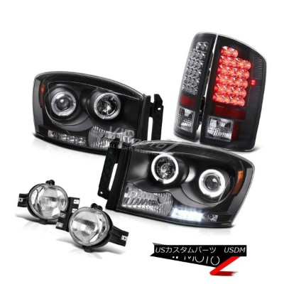 ヘッドライト L+R Black Halo Projector Headlight+LED Tail Light+Fog Lamp Dodge RAM 2007-2008 L + Rブラックハロープロ...