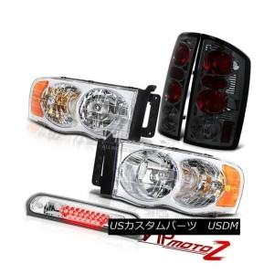ヘッドライト Crystal Clear Headlamps Smoke Tail Lamps Chrome 3rd Brake LED 02 03 04 05 Ram V8 クリスタルクリアヘッドラ...