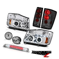 ヘッドライト Halo CCFL Headlamp Tail Lights Euro Fog High Stop LED Chrome For 04-15 Titan 4X4 Halo...