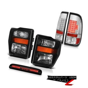 ヘッドライト 08-10 F350 King Ranch Black Headlamps Bright LED Tail Lights Smoke Third Brake 08-10...