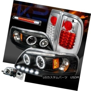 ヘッドライト 97-03 F150 Black Halo Projector Headlights+Clear LED Tail Lamps+Smoke 3rd Brake 97-03...