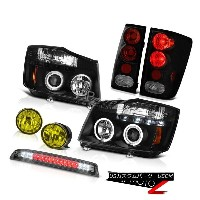 ヘッドライト For 04-15 Titan LE Black Halo Headlights Tail Lights Yellow Fog High LED Smoke 04-15タイタンLEブラッ...
