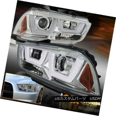 ヘッドライト New 2011-2014 Dodge Charger [ ICED-OUT Glow Halo ] Projector Headlights Chrome 新しい2011...
