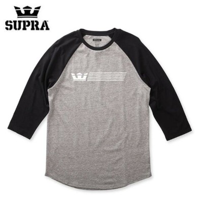 【2018SPRING(1Q)】SUPRA(スープラ) CROWN STRIPE PREMIUM RAGLAN T-SHIRTS TEE TS (GREY HEATHER-BLACK)...