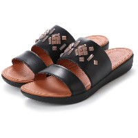 【SALE 40%OFF】フィットフロップ fitflop DELTA LEATHER SLIDE SANDALS - CRYSTAL (Black) レディース
