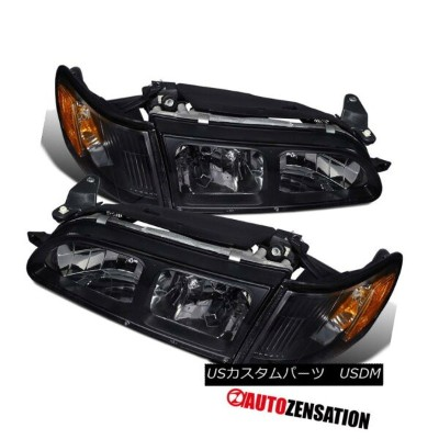 ヘッドライト For Toyota 93-97 Corolla JDM Crystal Black Headlights+Corner Signal Lamps 4PC トヨタ93-97...