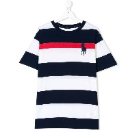 Ralph Lauren Kids striped logo T-shirt - ホワイト