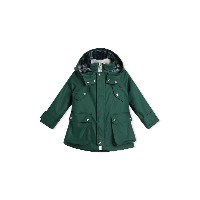 Burberry Kids Cotton Blend Hooded Parka with Detachable Warmer - グリーン