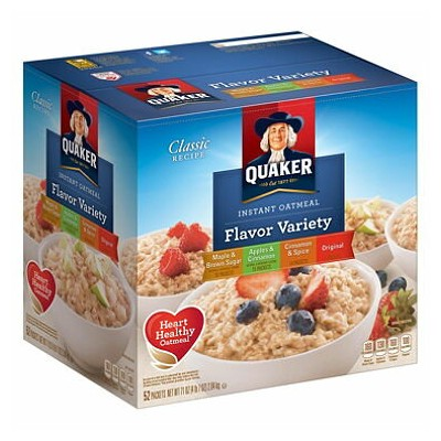 Quaker Instant Oatmeal, Variety Pack (52 ct.) クエーカー インスタントオートミール バラエティー52個セット