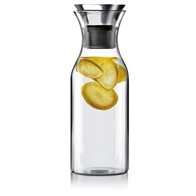 Hiwareテつョ 35 Oz Glass Drip-free Carafe with Stainless Steel Silicone Flip-top Lid, Glass Water...
