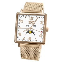 Davis-1736MB トリプル日付とムーンフェイズメンズスクエア腕時計 Mens Rose Gold Square triple date and Moonphase watch-White...