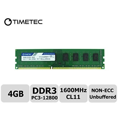 Timetec Hynix IC 4 GB DDR3L 1600 MHz PC3L 12800 非 ECC Unbufferedー 1.35V/1.5V CL11 2Rx8 デュアル ランク 240...