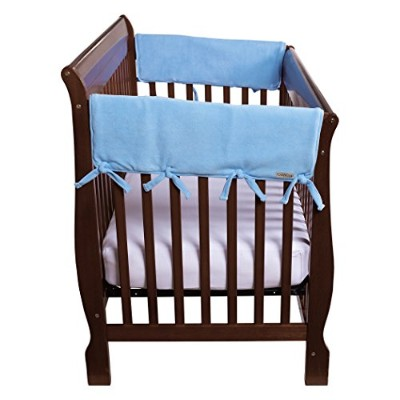 Trend Lab Fleece CribWrap Rail Covers for Crib Sides (Set of 2), Blue, Wide for Crib Rails...