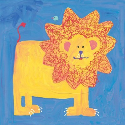 Oopsy Daisy Lion and Bird Stretched Canvas Wall Art by Stephanie Bauer, 14 by 14-Inch by Oopsy Daisy