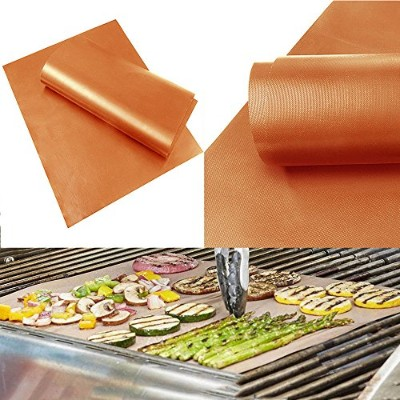 Home Garden Outdoor Copper Chef Grill and Bake Mats Camping BBQ Pad Tool Gold Co