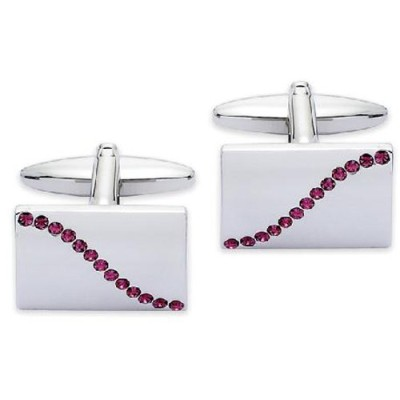 メンズカフスCode Red Base Metal Rhodium Plated with Purple Colour Crystals Cufflinks[並行輸入品]