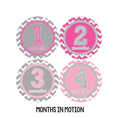 Months in Motion 281 Baby Month Stickers Baby Girl Pink Chevron Months 1-12 Monthly Age Sticker by...