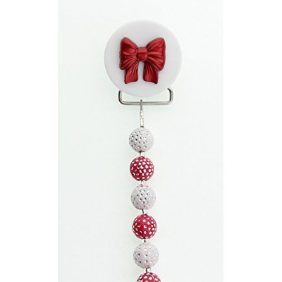 Crystal Dream Holiday Gift Red and White Beads Red Bow Pacifier Clip (F2-R) 8 Inch Made in USA by...
