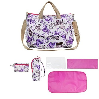 larsuyar 100% Cotton 6 Pieces Baby Tote Bag Set, Baby Diaper Bags for Girls, 7-inch By 16.54-inch By 26-inch (Purple) by larsuyar