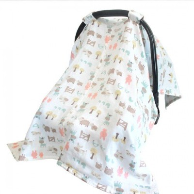 Vlokup 100% Cotton Muslin Baby Car Seat Covers Travel Summer Infant Car Seat Canopy for Boys Girls...