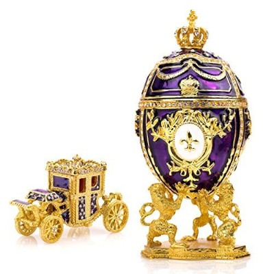 """(Purple) - Unique, Decorative Purple Faberge Egg: Extra Large 6.6"""", Hand Painted Jewellery Box for..."""