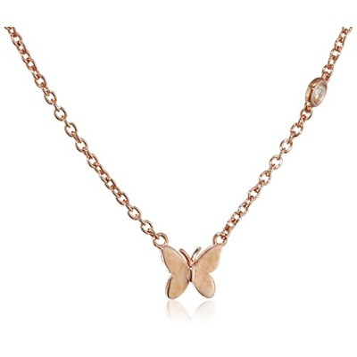 ペンダントShy By Sydney Evan Sterling Silver Rose Gold Plated Butterfly Necklace with Diamond Bezel of 41.275cm[並行輸入]