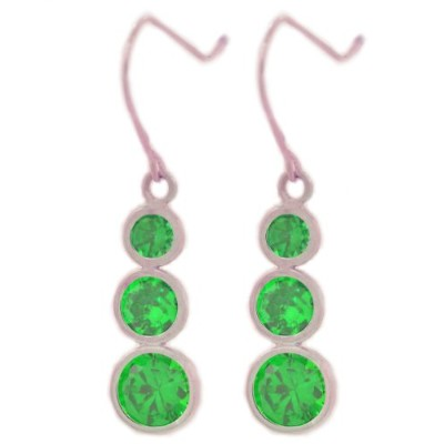 3 Ct Simulated Emerald Bezel Dangle Earrings .925 Sterling Silver Rhodium Finish