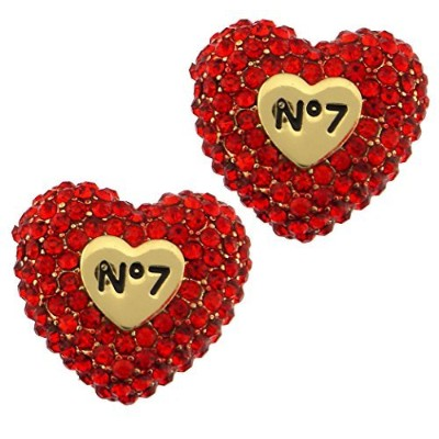 Valentines day gift crystal pave puffy heart peekaboo post button earrings