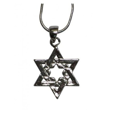 Religious Jewish Star of David inside Starペンダントネックレスシルバー