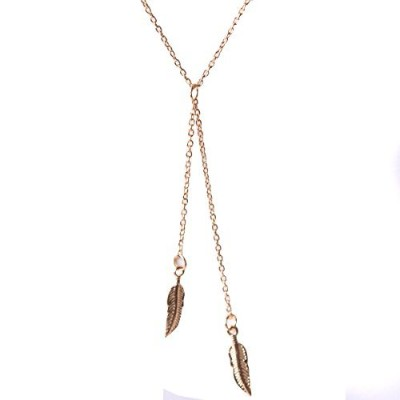 delicate double feather Lariatスタイル合金Mtealペンダントネックレスゴールデンの女性