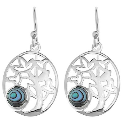 イヤリングOrnami Sterling Silver and Abalone Pierced Out Family Tree Drop Earrings[並行輸入品]