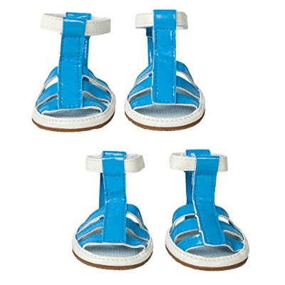 Pet Life LLC F25BLLG Buckle-Supportive Pvc Waterproof Pet Sandals Shoes - Set Of 4