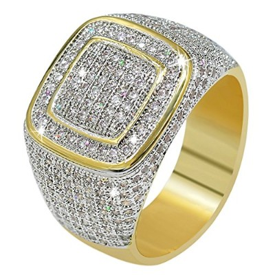 JINAO 14Kゴールドメッキ ジルコニア クラスター B系 ヒップホップリング Gold Plated Cluster Ring for Men (8#)