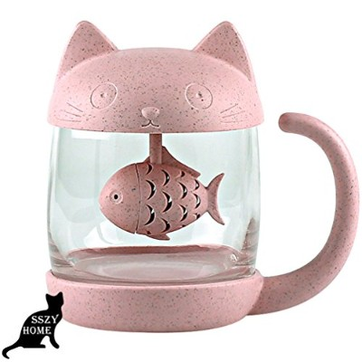 (Pink) - Pink Girly Cute Cat Teacup With Fish Filter Lovely Glass Cup Suit For Milk Jucie Tea Fruit...