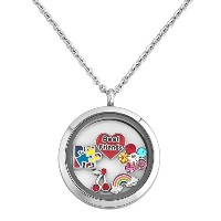 q &ロケットBest Friends Autism Awareness Flower Rainbow Floatingリビングメモリロケットペンダントネックレス