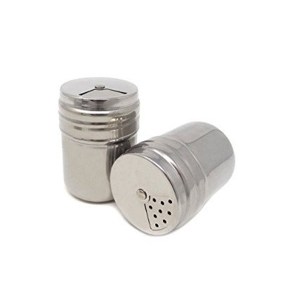 Honbay 2PCS Stainless Steel Dredge Salt Sugar Spice Pepper Shaker Seasoning Cans with Rotating Cover