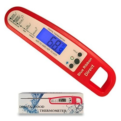 (Red) - Red Instant Read Thermometer with Backlight for Meat BBQ Cooking for Food,Kitchen
