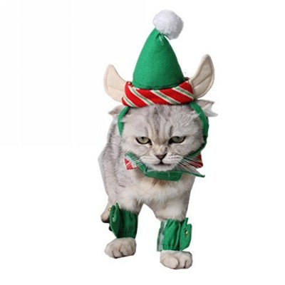 HXINFU Christmas Pet Costume Neck Collar, Leg Sleeve Cuffs, Santa Hat For Dog Cat Party Cosplay Pet...