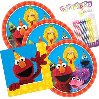 Sesame Street Party Plates and Napkins serves 16with誕生日キャンドル