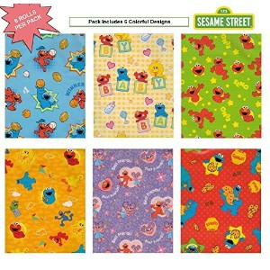 Sesame Street, Elmo Birthday Gift Wrap Wrapping Paper for Boys, Girls, Kids 6 Different 5 ft X 30 in Rolls / Pack Set Included! Light Weight Paper. by The Gift Wrap Company