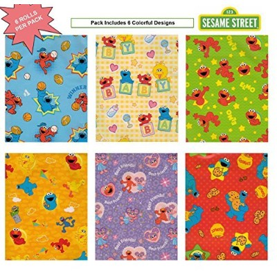 Sesame Street, Elmo Birthday Gift Wrap Wrapping Paper for Boys, Girls, Kids 6 Different 5 ft X 30...