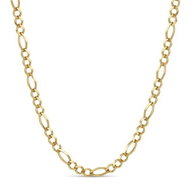 18 K Gold overスターリングシルバーフィガロチェーンネックレス24インチ、Made in Italy