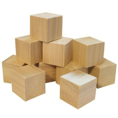 1.5 Natural Unfinished Hardwood Craft Wood Blocks By Chica and Jo - Set of 10 Wooden Cubes (1 1/2...