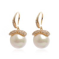 Dangling Pearl Earrings with Crystals