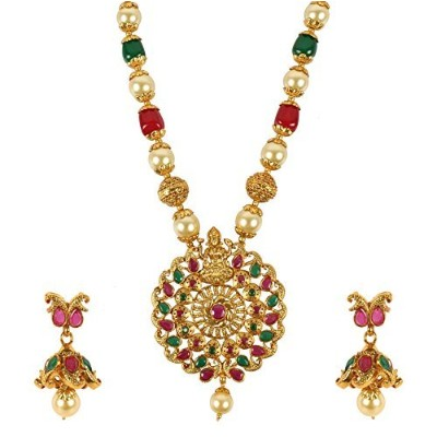 Muchmore Stunning FloralシェイプLord Laxmi TempleジュエリーMalaネックレスSet with Ruby and Jade Stones