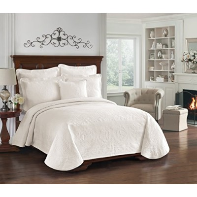 Historicチャールストン13991beddqueivy King Charles Matelasse 96-inch by 90-inch Queen Coverlet、アイボリー