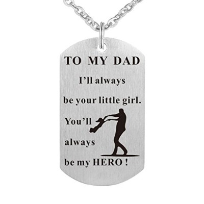 cradiabh父の日犬タグペンダントネックレスギフトDaddy Dad誕生日ネックレスMilitaryジュエリーPersonalizedカスタムDogtags Loveギフト