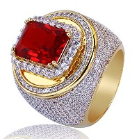 topgrillz 14K Gold Plated Iced Out CZ RubyクッションBling Punkyリングfor Men